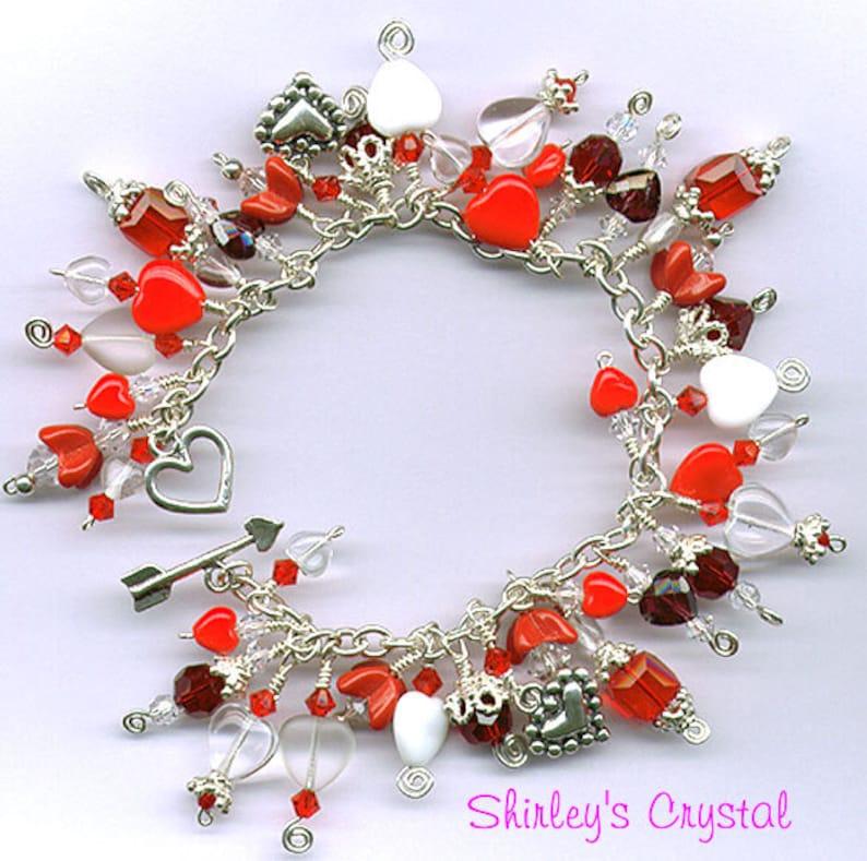 STERLING SILVER HEARTS Crystal Charm Bracelet image 0