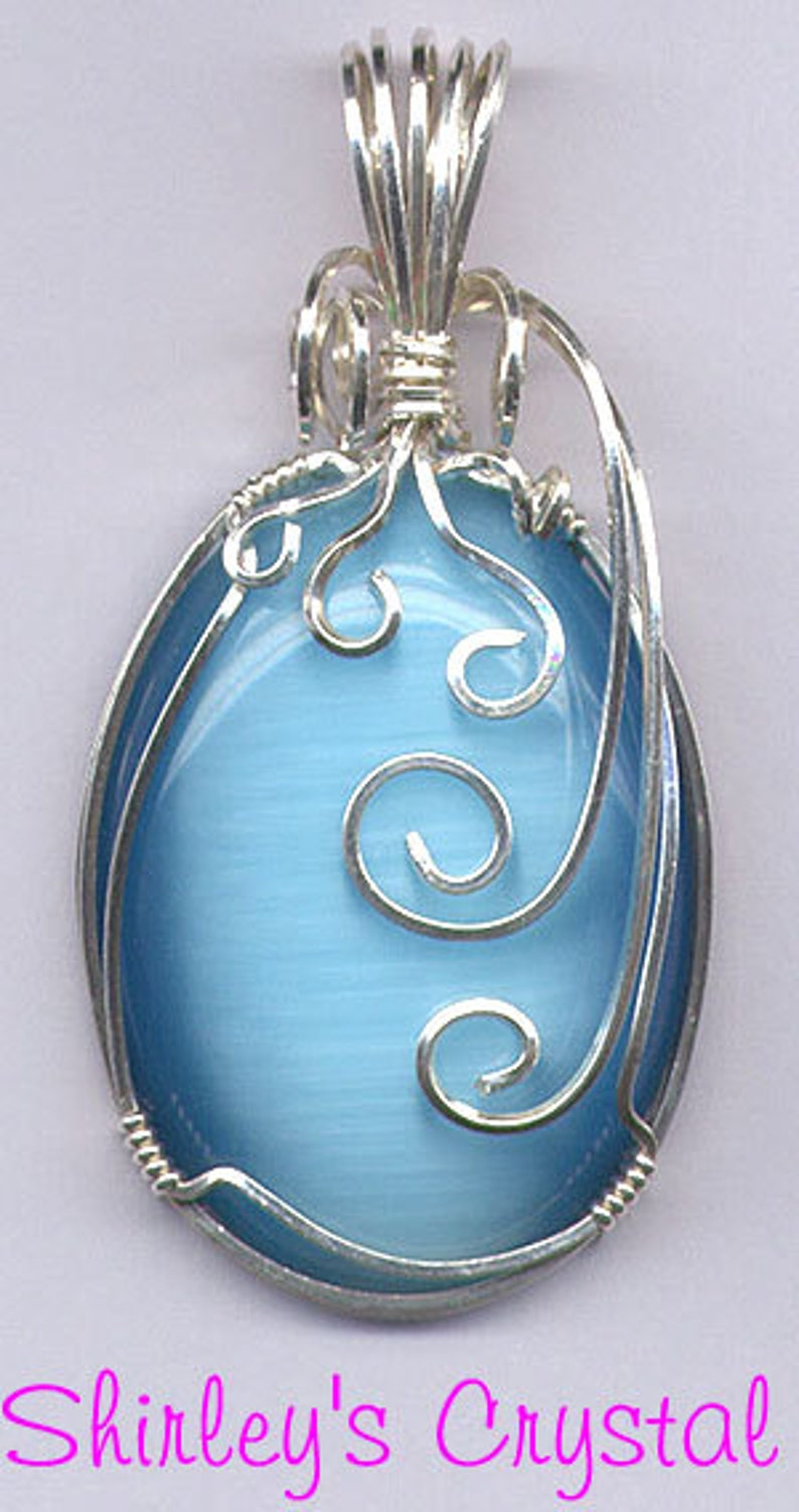 Sterling Silver Wire Wrapped Cat's Eye Pendant Large image 0