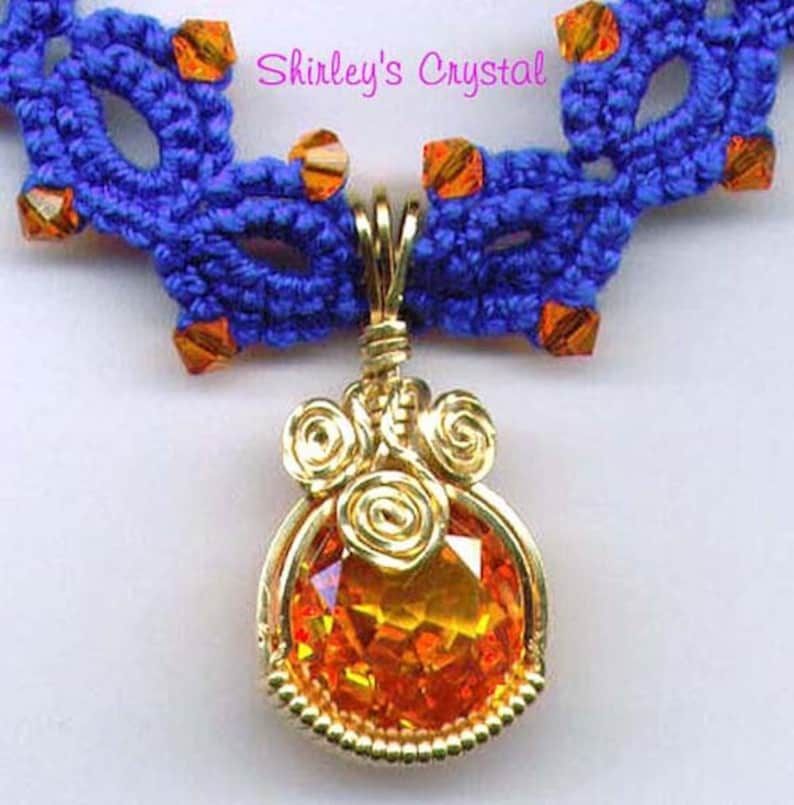 WIREWRAPPED TATTED Padparadscha Sapphire NECKLACE w/Gold image 0