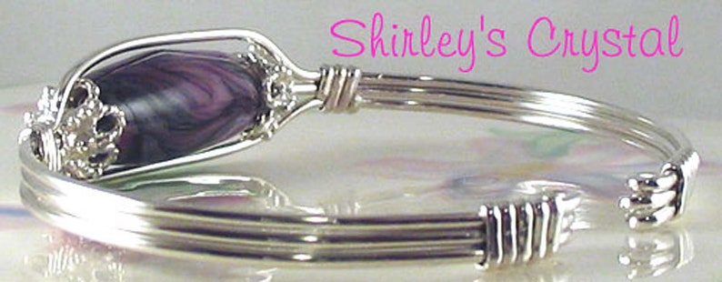 PURPLE SWIRL BANGLE Handmade Sterling Silver Wire Wrapped image 0