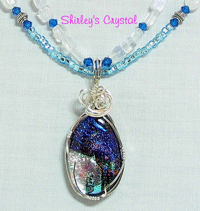 BLUE LAGOON Handmade SS Wire Wrapped Dichroic Pendant image 0
