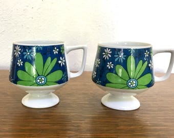 Two Vintage Footed Ceramic Mugs