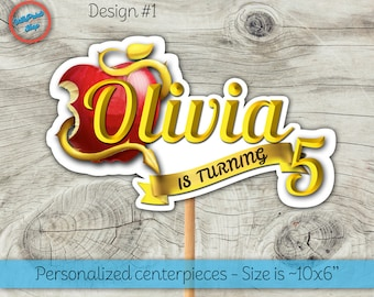Descendants centerpiece, Descendants centerpieces! Personalized Descendants centerpiece with your name and age!