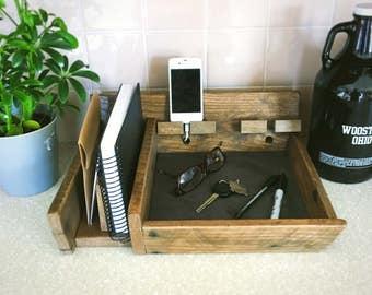 Countertop Governor | Office Organizer | Reclaimed Wood Desk Organizer |  Wooden Phone Dock | Mail Holder | Kitchen Organizer | Kitchen Cadd