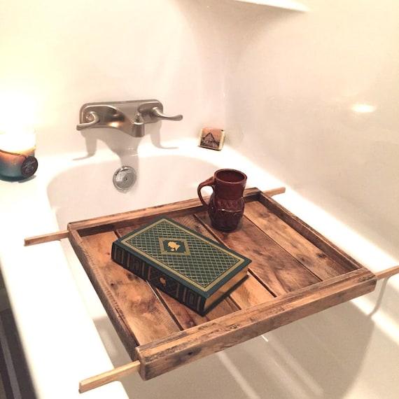 Adjustable Bath Tray Reclaimed Wood Tub Caddy Wood Tray   Etsy