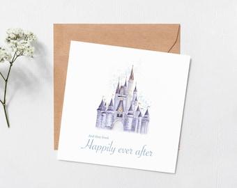 Disney castle card - Greeting card - Happy anniversary - Walt Disney cards - love - anniversary card - engagement card - blank inside card