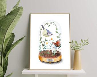 Bell jar print - Custom art print - new home gift - Home sweet home print - New home custom art gift - Flowers bell jar - floral poster art