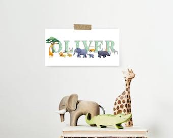 Personalised Safari Name Print - Nursery art - Personalised name art - baby shower gift - Christening gift  - kids room - animal name art