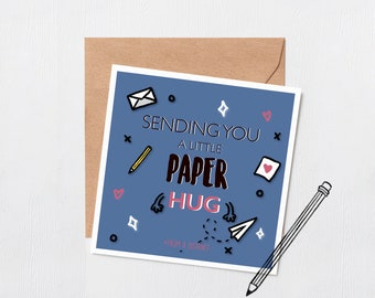Sending you a Paper hug - Mothers day - Happy birthday - best friend card - Missing you card - cute card - paper hug - miss you card - hug