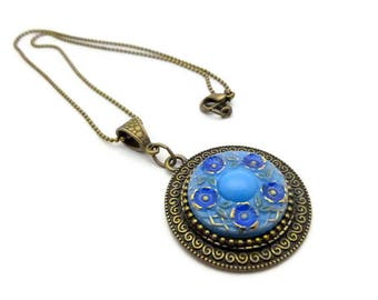 Czech glass button necklace and chain bronze