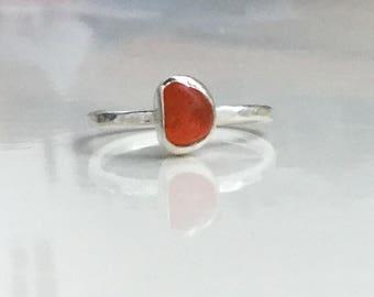 sea glass Ring, Orange Seaglass Ring, Rare seaglass, Seaglass Jewellery, Orange Seaglass, Cornish Seaglass