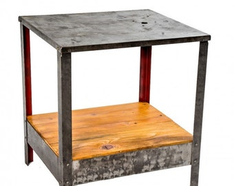 Steel Factory Machine Shop Stand With Undershelf And Protruding Shelf In Many Styles 1900-1950 Antiques