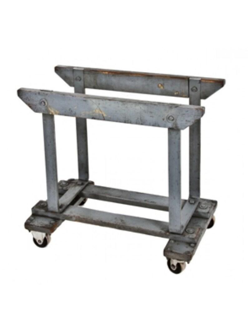 Wood Side Table Base 1920/'s Battleship Blue Bent Steel