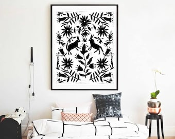 Otomi mexico, Bedroom decor, Big size print, Bedroom wall art, Home decor, Black and white art, Bedroom wall print, Otomi print, Otomi