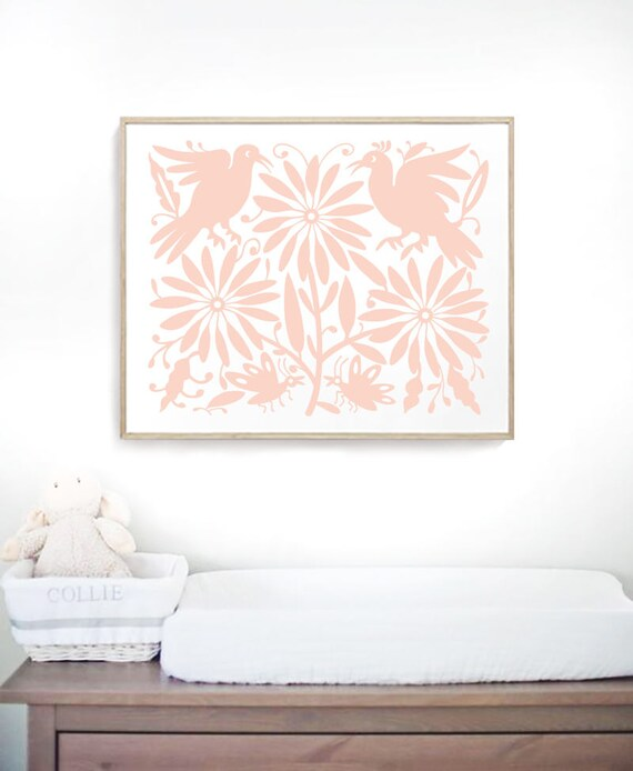 Peach Print Otomi Mexico Baby Room Print Otomi Otomi Print Baby Girl Room Ideas Mexican Print Nursery Wall Decor Otomi Indians Wall Hanging