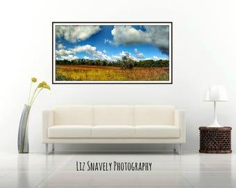 Panoramic Nature Photo, Panoramic Sky Print, Blue Cloudy Sky, Fall Trees Landscape, Autumn Foliage, Fall Trees Photo, Fort Custer Panoramic