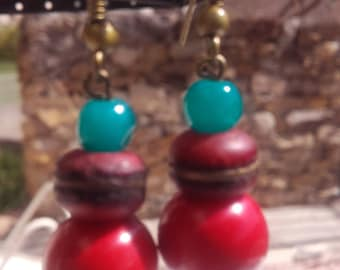 African recycled bead earring