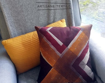 The wax brown/yellow striped pillow