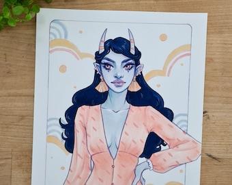 Zun Art Print | Fantasy Illustration, Pastel Artwork, Demon Babe Illustration, Aesthetic Art Prints, Girl Illustration Portrait, Alien Babe