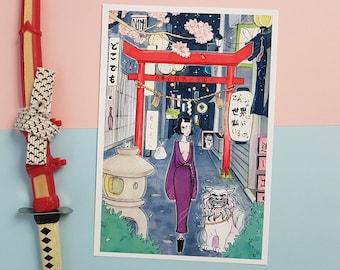 Dokodemo | Art print | oni girl, surreal illustration, copic art, japan art, manga drawing, copic illustration, japanese inspired art