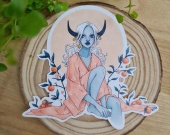 Tangerine | Illustrated Art Stickers, Fantasy Art, Vinyl Planner Stickers, scifi art illustration, Ox Girl, Mythological, Chinese Zodiac