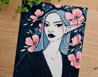 Kkoch Art Print | Fantasy Illustration, Plants Artwork, Floral Illustration, Aesthetic Art Prints, Girl Illustration Portrait, Elf Babe