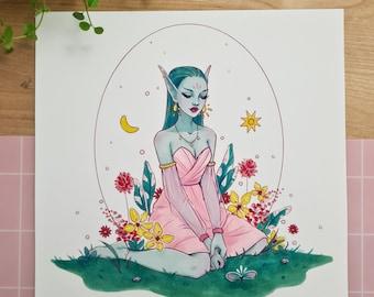 Spring Nymph | fairytale Art, fantasy art print, floral illustration, elf girl, marker art, wall art print, pastel art, aesthetic art print