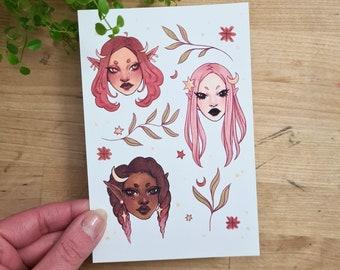 Herbal | Art Print | Nature art, marker illustration, fantasy illustration, witch aesthetic, Plant witch, pastel colors, Plant Art, plants