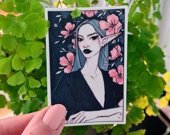 Kkoch | Vinyl Sticker, Illustrated Art Stickers, Vinyl Laptop Sticker, Matte Sticker, Fantasy Art, Floral Decal, Summer Planner Sticker