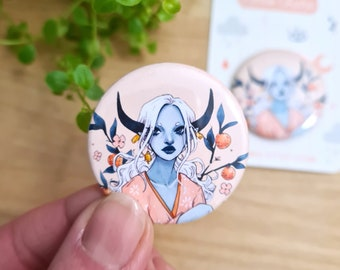Tangerine Button | 1.45 inch -  37 mm, Pin-Back Button, Illustrated Button, Ox Girl, Fantasy Art,  Accessories, Circle Pin, Chinese Zodiac