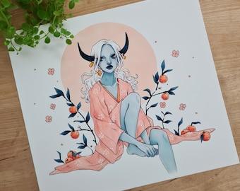 Tangerine | Year of the Ox, fantasy art print, fruit art, illustration, demon girl, marker art, wall art print, botanical fantasy art, n1mh