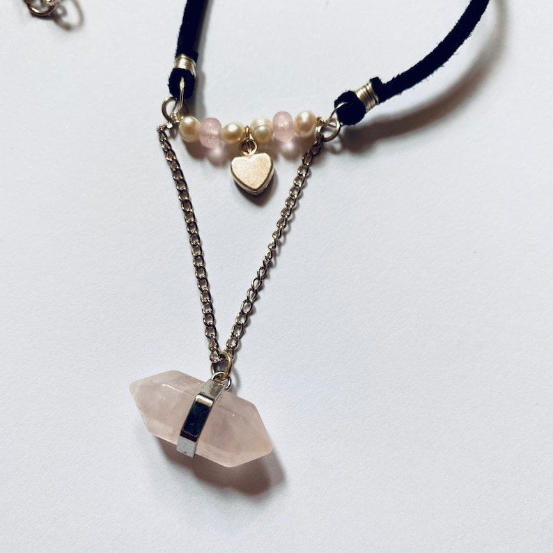 Rose Quartz Fresh Water Pearl and Glass Necklace