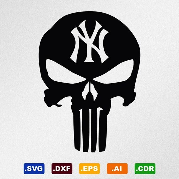 Punisher Skull New York Yankees Svg Dxf Eps Ai Cdr Vector Etsy