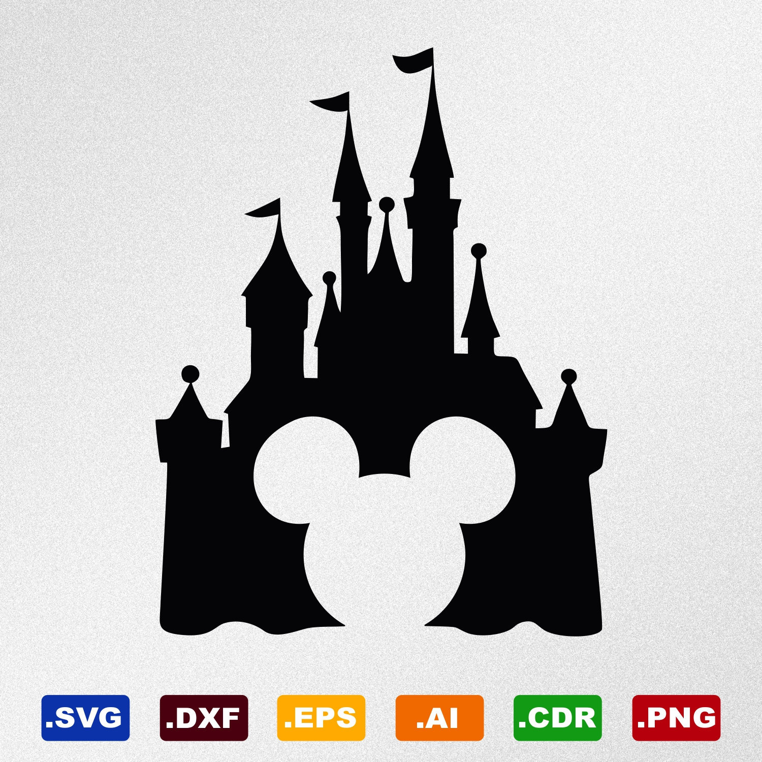 Disney Castle Mickey Mouse Svg Dxf Eps Ai Cdr Vector Files
