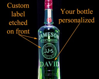 Jameson Whiskey Custom Engraved/Etched & Personalized Bottle, Husband Gift, Birthday Gift, Boyfriend Gift, Father Gift, St. Patrick's, Empty