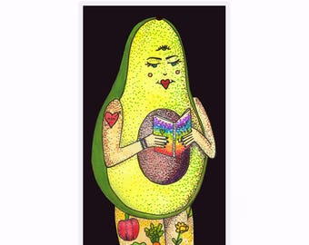 Vegan bookmark - Avocado Girl - Pen and Ink - Watercolour