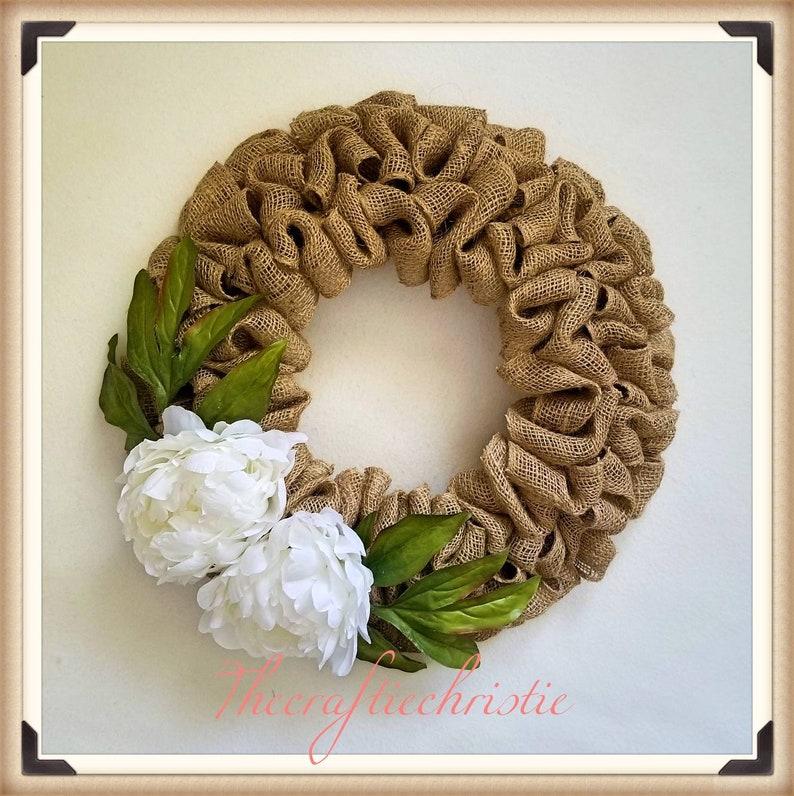 Spring Door Wreath-Spring Peony Wreath-Burlap Spring Wreath-Front Door Spring Wreath-Spring Home Decor-Wreath Front Door-Mother/'s Day Gift