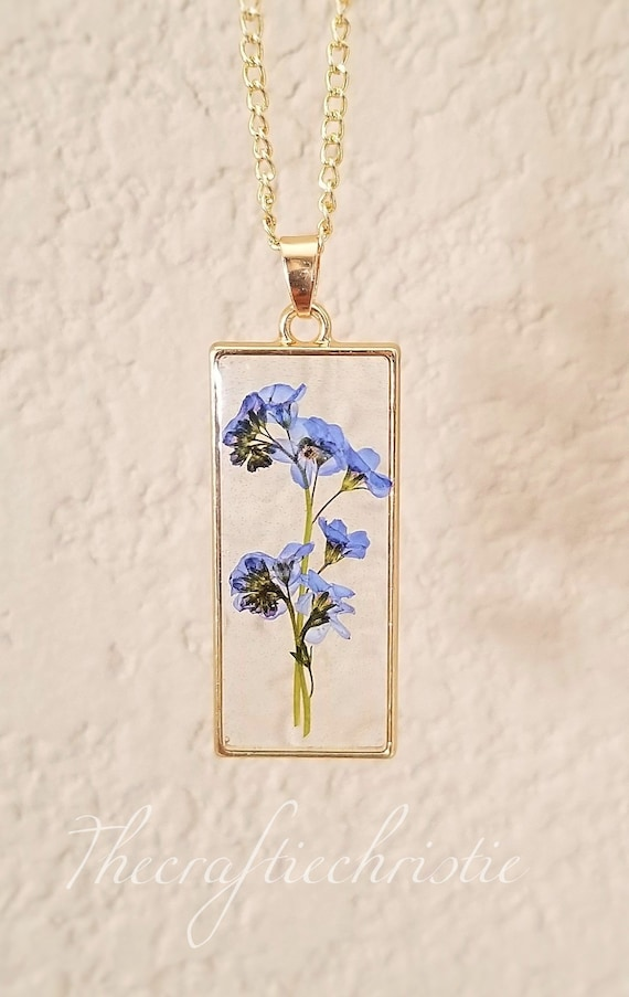 Dried flower Pendant real flower pendant gift for mom gift for her Forget me not necklace
