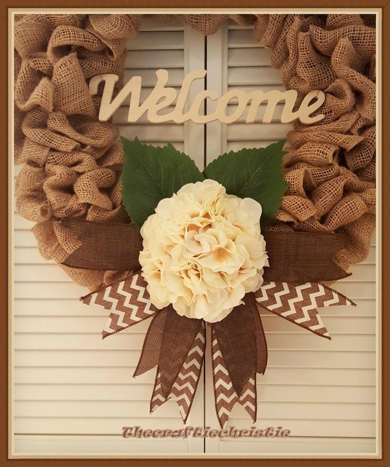 Front Door Wreath-Burlap Wreath-Fall Front Door Wreath-Large Wreath-Fall Hydrangea Wreath-Welcome Wreath-Fall Wreath-Housewarming Wreath