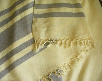 Extra large hand loom woven  cotton shaqwl (Kikoi) from Africa, cream and grey