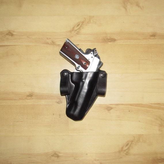 Leather Holster 1911, custom crafted leather IWB holster, holster with Pull Dot Snaps for secure fit, EDC, IWB