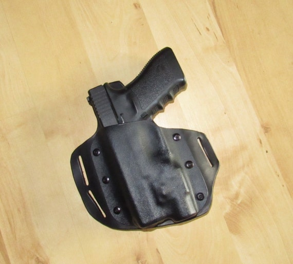 Leather and Kydex Hybrid Holster for Glock 21 with TLR Streamlight for EDC, OWB