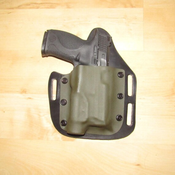 Leather and Kydex Hybrid Holster Custom Crafted for M&P 9 Full Size with a TLR-1-HL Streamlight for EDC and owb