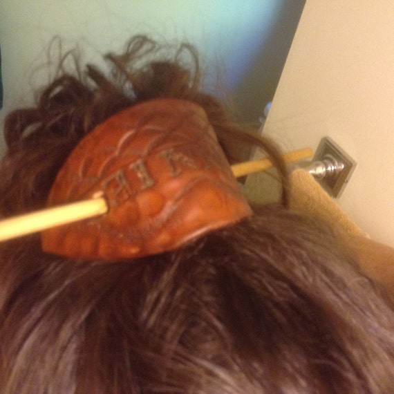 Leather Personalized Hair Clip with name or stamp of your choice with dowel fastener