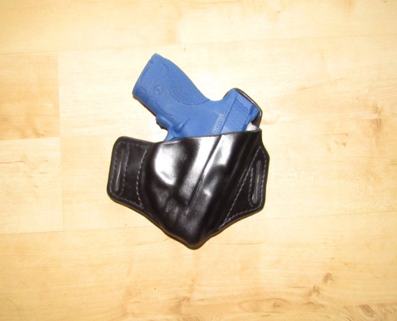 Leather Holster for S&W Shield with Laser, custom crafted from premium leather for EDC,  OWB