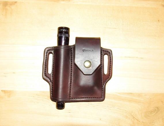 Leather Sheath custom crafted to Leatherman© Supertool 300 with Mini Maglite, custom supertool Case, custom Mini Mag leather case, EDC, OWB
