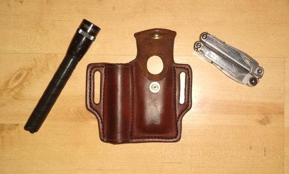 Leather Sheath, custom crafted to Leatherman© Supertool Sheath and Mini Maglite, custom Wave Case, custom Mini Mag Leather case, EDC, OWB