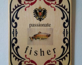 Wood plaque passionate fisher - Home Decor