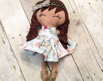 """13"""" girl cloth doll, cloth doll, rag doll, heirloom doll, toys, baby doll, doll toy, baby, gilr doll"""