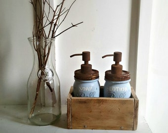Mason Jar Soap Dispenser Sets. Wood Soap Dispenser Boxes. Mason Lotion Dispenser Sets. Rustic. BLUE. Farmhouse Bathroom Accessories. Pumps